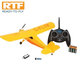 Includes Champ RTF RC airplane, 2.4GHz transmitter, 4 AA batteries, LiPo flight battery and charger