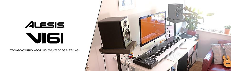 Alesis VI61 – Teclado Controlador MIDI USB de 61 Teclas con 16 Pads, 16 Mandos y 48 Botones Todos Asignables, Salida MIDI de 5 Puntas y un paquete de ...