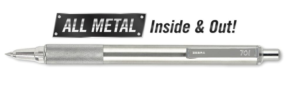 stainless steel zebra pen, all metal pen, all metal inside and out pen, zebra pen, executive pen