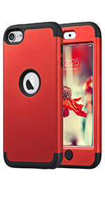 ipod touch 5 6 generation case red shockproof heavy duty protective case cover for kids