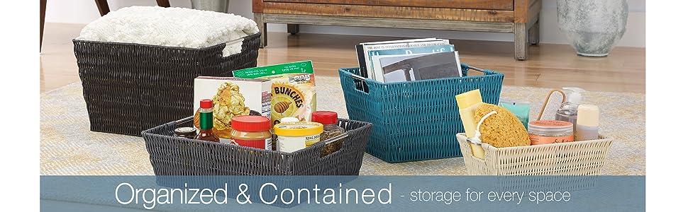 organizer baskets, basket set, organizer, containers, pantry basket, closet organizer, totes, bins