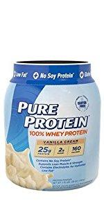 Pure Protein 100% Whey Powder, Vanilla Cream, 1.75 pounds