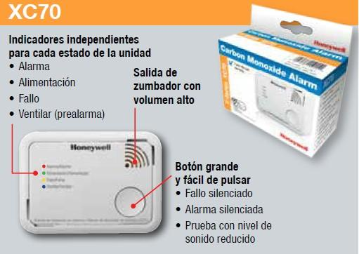 Honeywell Home XC70-ESPT Detector autónomo de CO (batería) color blanco, 106 x 47 x 77 mm