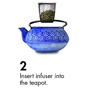 insert tea infuser into pot