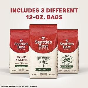 Seattle's Best Coffee Dark Roast Variety 3 Pack