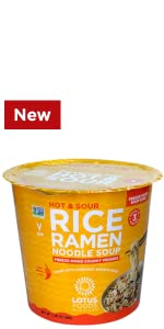 Hot & Sour Rice Ramen Noodle Soup Cup With Freeze-Dried Chunky Veggies