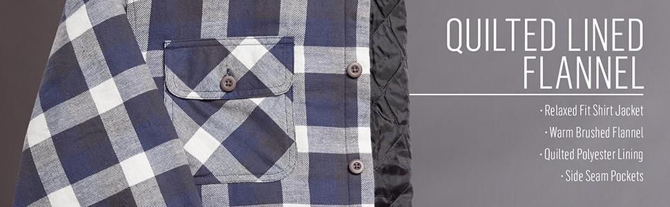 Wrangler Authentics Men's Long Sleeve Quilted Flannel Lined Shirt ... : quilted lined flannel shirt - Adamdwight.com