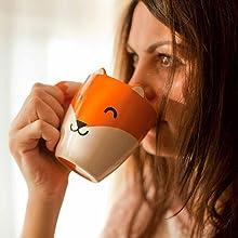 animal;animaux;mugs;cup;tasse;cuisine;family;collection;creative;cadeau;fox;renard;orange;poignée