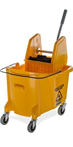 mop bucket, plastic mop bucket, down press mop bucket, 35 quart capacity mop bucket,