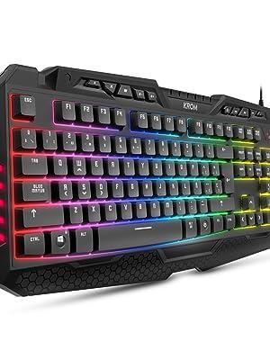 Krom KYRA - NXKROMKYRA - Teclado Gaming membrana, ES layout, anti-ghosting N-19, función WASD, RGB Rainbow con 9 efectos, USB, color negro