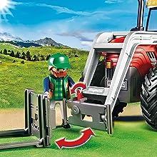 Playmobil, Country, Farm, Tractor, Large, Detachable, Farmer, Figure