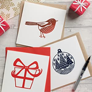 greetings card, card, christmas, handmade, homemade, with a difference, festive, greeting, linoprint