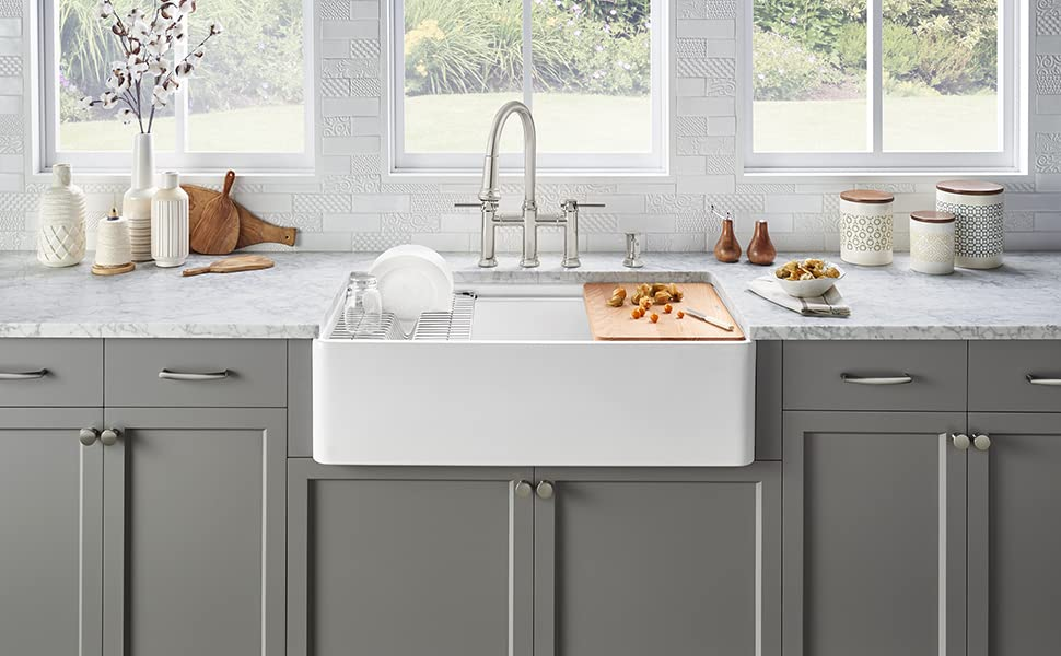 blanco 523026 profina fireclay 36 apron front farmhouse kitchen sink with cutting board white