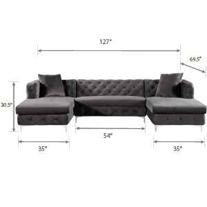 Tremendous Meridian Furniture Gail Collection Modern Contemporary Velvet 3 Piece Sectional 127 W X 69 5 D X 30 5 H Pink Pabps2019 Chair Design Images Pabps2019Com