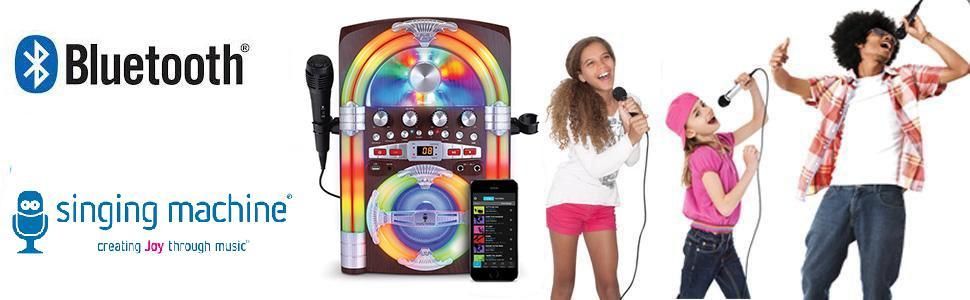 Singing Machine SML645BT Jukebox Bluetooth Karaoke Machine With Lights and  Microphone