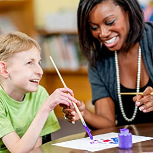 Art teacher and student