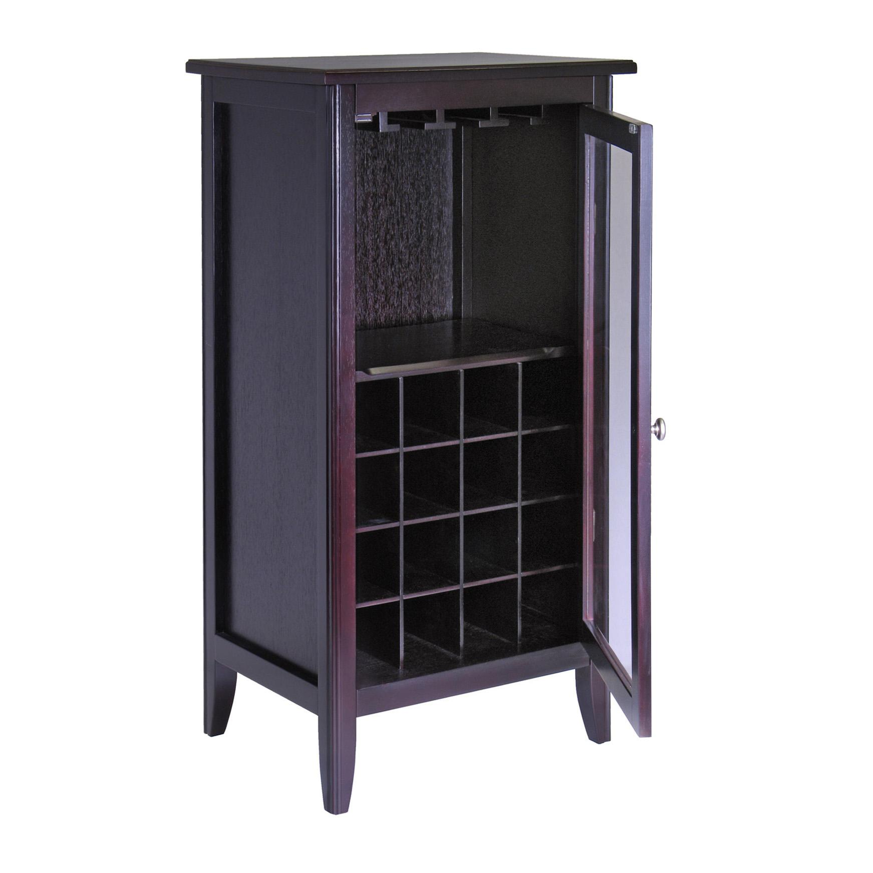 Winsome wood wine cabinet with glass door for Kitchen cabinets amazon