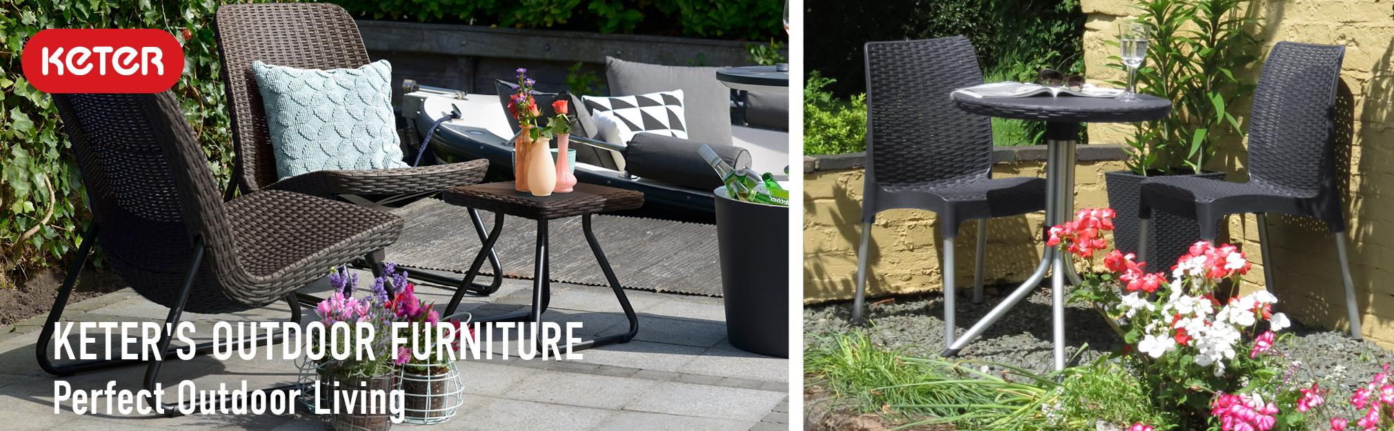 Keter Rio 3 Piece Patio Set Table And 2 Chairs Patio Furniture Rattan  Collection