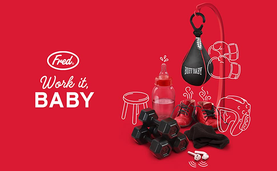 fred, fred & friends, genuine fred, buff baby, dumbbell, fitness, workout, speed bag, gym, rattle