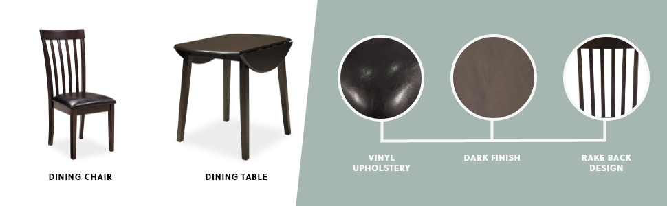 dining chair set of 2 dining table drop leaf vinyl upholstery dark finish rake back
