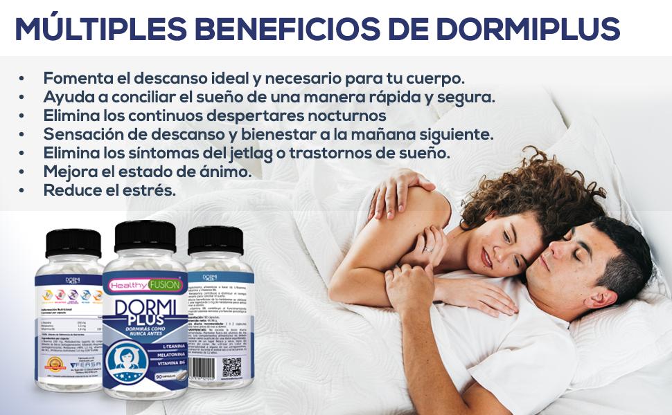 DormiPlus | Melatonina 100% pura + L-teanina + vitamina B6 de alta solubilidad | Concilia un sueño rápido, sin esfuerzos y sin interrupciones | 8 ...