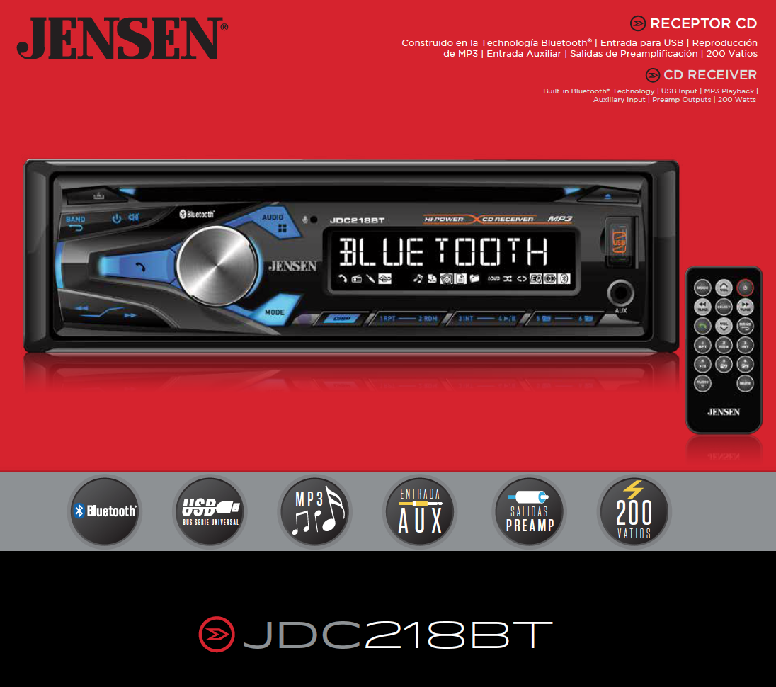 Jensen Jdc218bt Multimedia High Definition 10 Character Lcd Single Din Car Stereo Receiver With