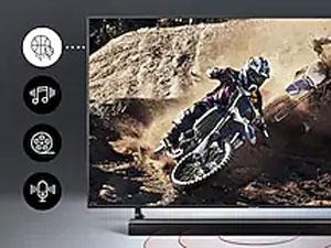 QLED TV with motorcross scene