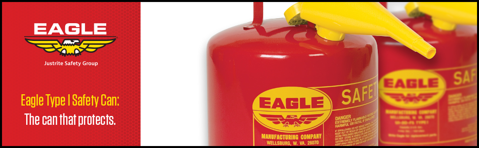 Eagle red Type 1 safety can OSHA FM UL funnel
