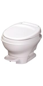 Low profile RV toilet white