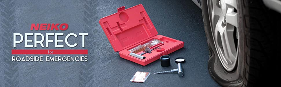 Flat Tire Repair Cost >> Tooluxe 50002L Universal Tire Repair Kit to Fix Punctures and Plug Flats, 35-Piece Value Pack ...