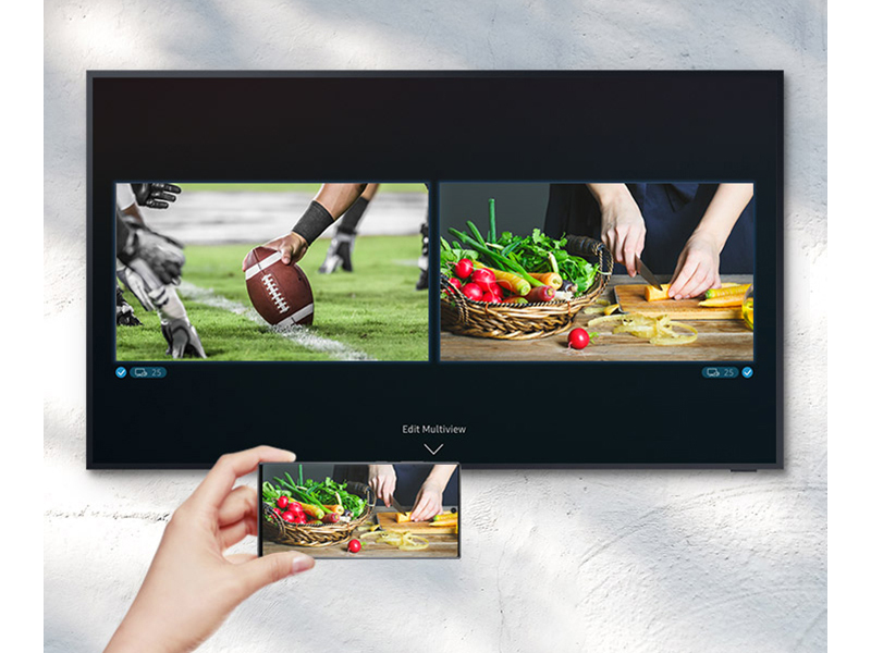 Mirroring cooking show from mobile device to TV and watching football