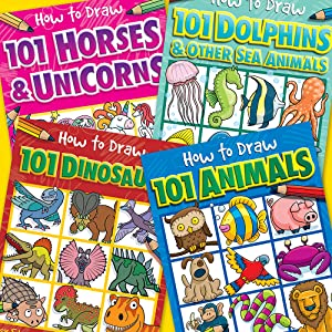 Cover collage of How to Draw 101 titles Horses and Unicorns, Dolphins, Dinosaurs and Animals