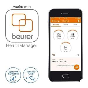 Mit Bluetooth(R)-Funktion zur Übertragung der Werte in die HealthManager App