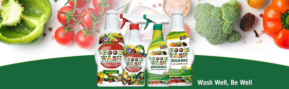 Veggie Wash Fruit and Vegetable Wash, Produce Cleaner and Produce Rinse, Wash Well Be Well!