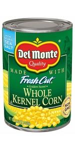 kernel corn, canned corn, del monte corn
