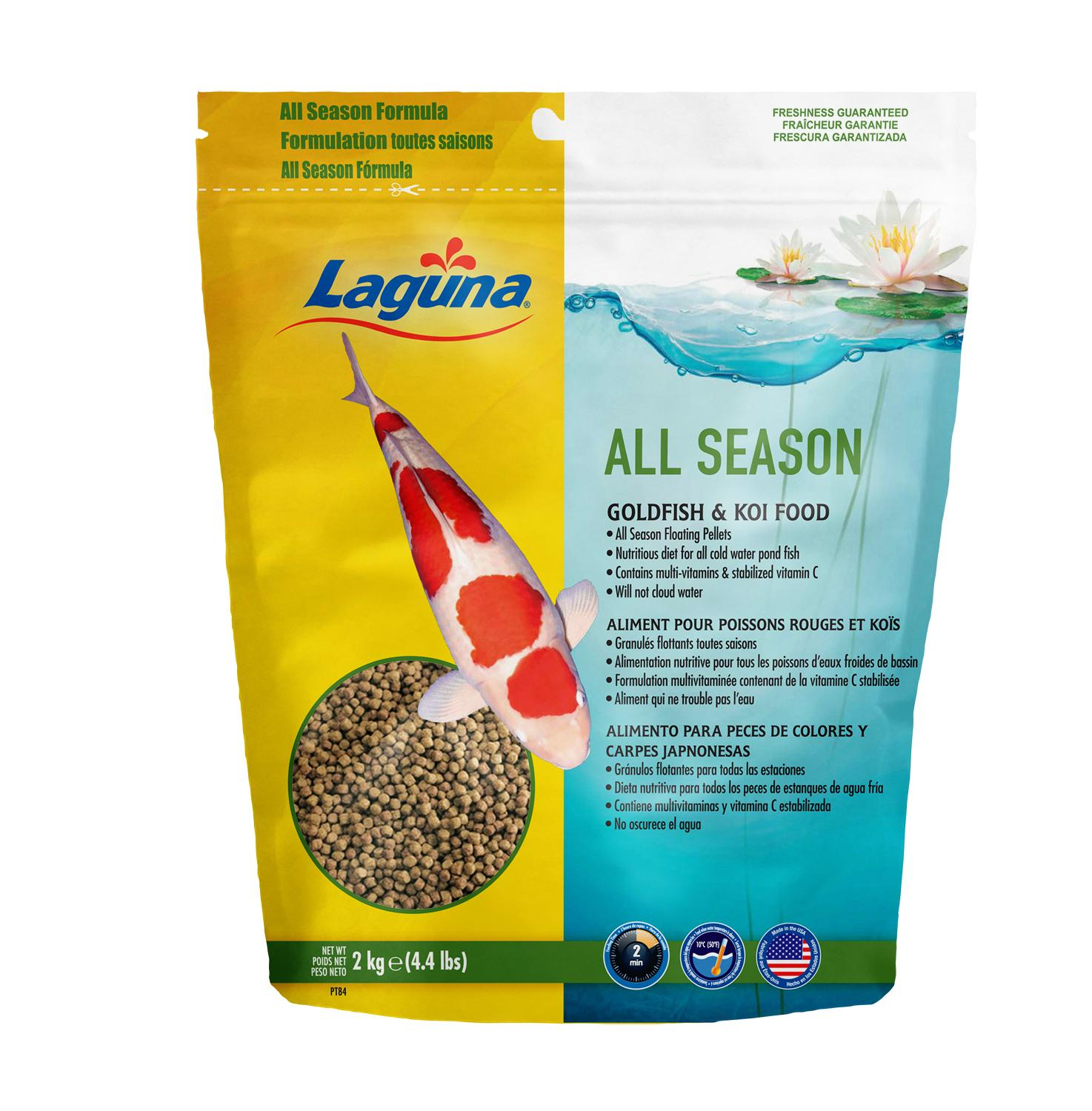Laguna All Season floating fish food contains a balanced nutritional formula for Goldfish, Koi and cold water pond fish. This blend of vitamins, ...
