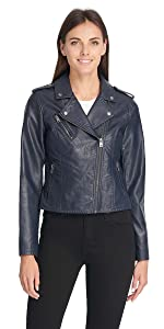 Faux Leather Classic Asymmetrical Motorcycle Jacket