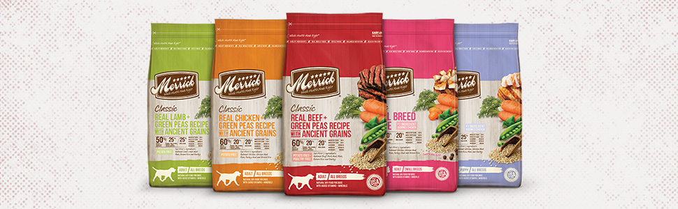 Merrick Classic Dog Food family group shot