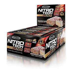 NitroTech crunch protein bar, protein, whey protein, bars, gluten free, natural whey