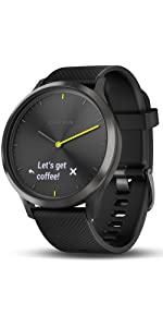 Garmin vívomove HR, Hybrid Smartwatch for Men and Women, Black/Black, Large
