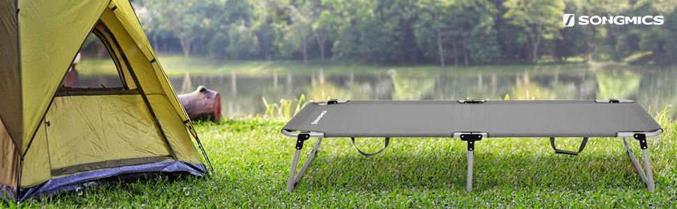 SONGMICS Multiuso Cama de Camping Catre Plegable portátil Carga estática MAX.260 kg 190 x 63 x 36 cm