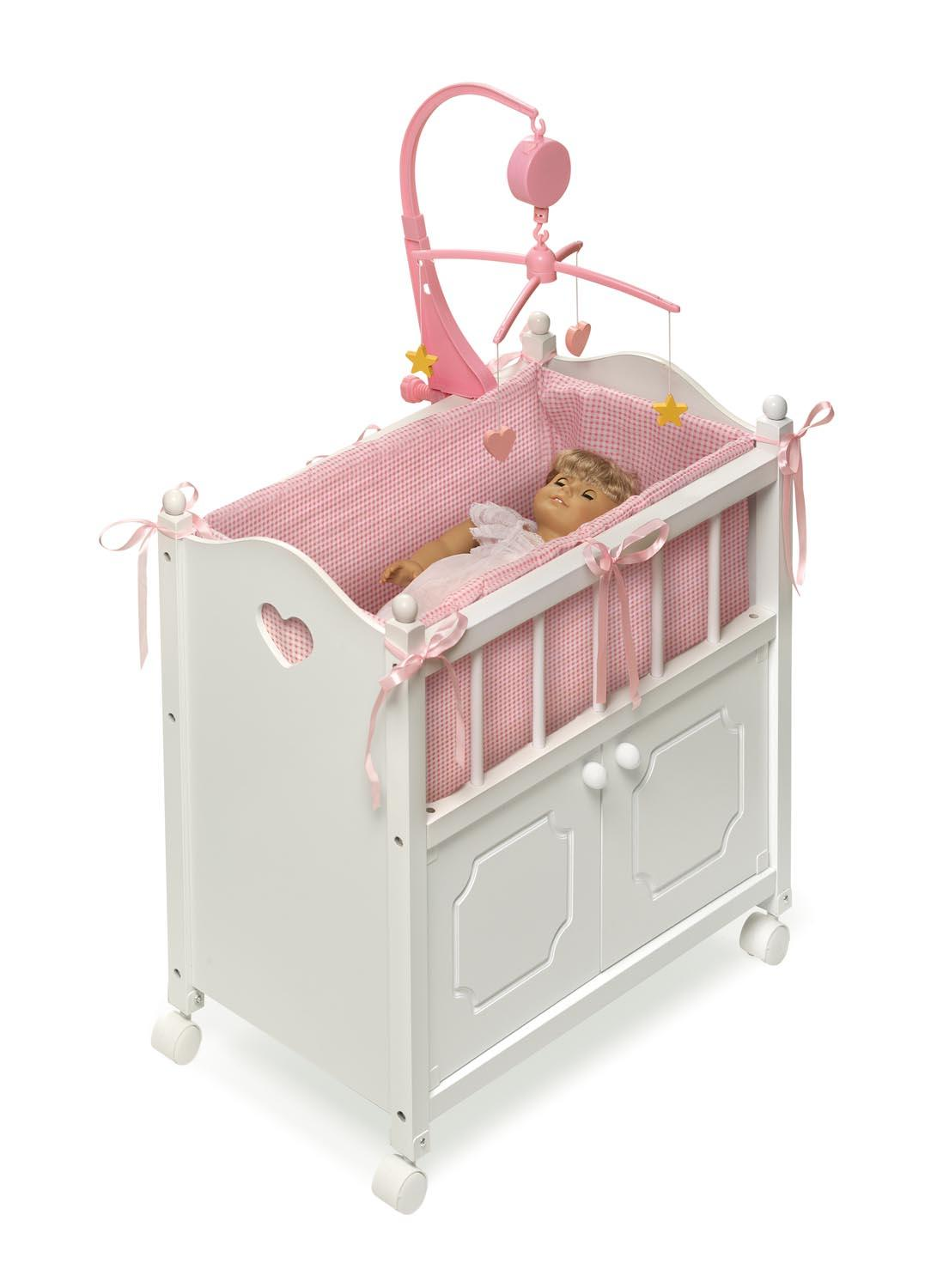 Amazon.com: Badger Basket White Doll Crib with Cabinet/Bedding ...