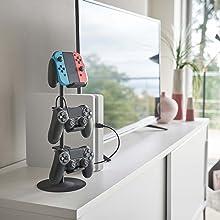 山崎実業 ゲームコントローラー収納ラック スマート ブラック 5089