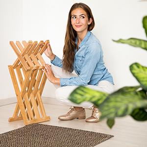 Relaxdays Taburete Bajo Plegable 42 x 32 x 27 cm Beige Bamb/ú
