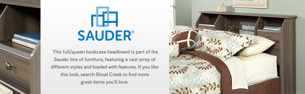 Sauder Shoal Creek Queen Bookcase Headboard in Diamond Ash