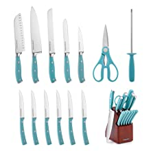 knife set stainless steel with wood block