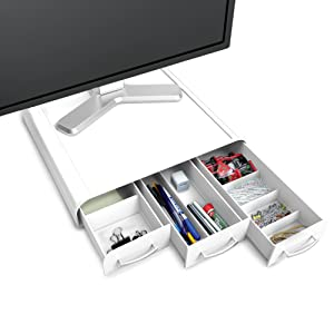 multi-use, organizer, monitor stand, riser, drawers, compartments, adjustable, stow keyboard