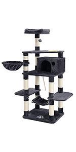SONGMICS Árbol para Gatos Rascador Alto para Gatos con Bola de Juego Cesta Flotante Caseta Postes Cubiertos de sisal Gris Claro PCT60W: Amazon.es: Productos ...