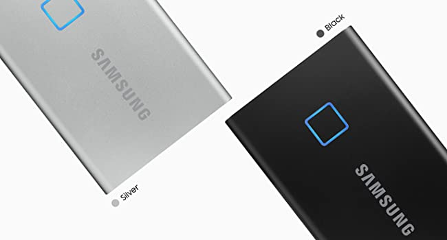 Samsung Portable SSD T7 Touch in silver and black color with the LED turned on