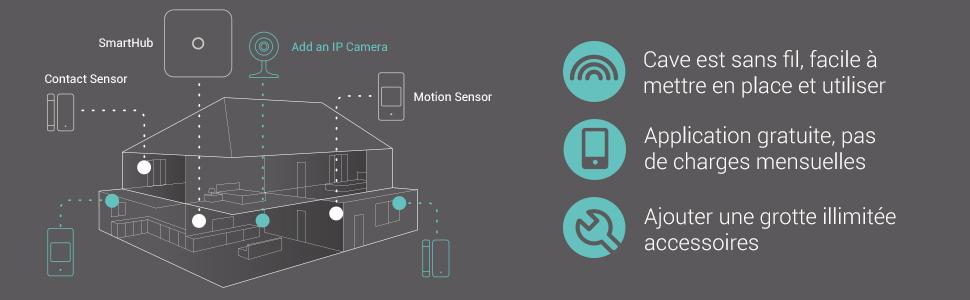 Veho Cave Smart Home Kit de démarrage pour système d'alarme de sécurité sans fil